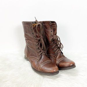 Steve Madden Brown Leather Lace-up Victorian Boots